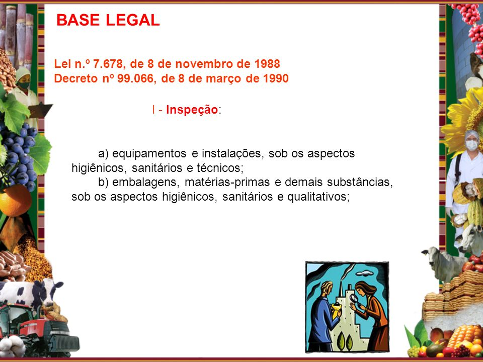 BASE LEGAL Lei n.º 7.678, de 8 de novembro de 1988