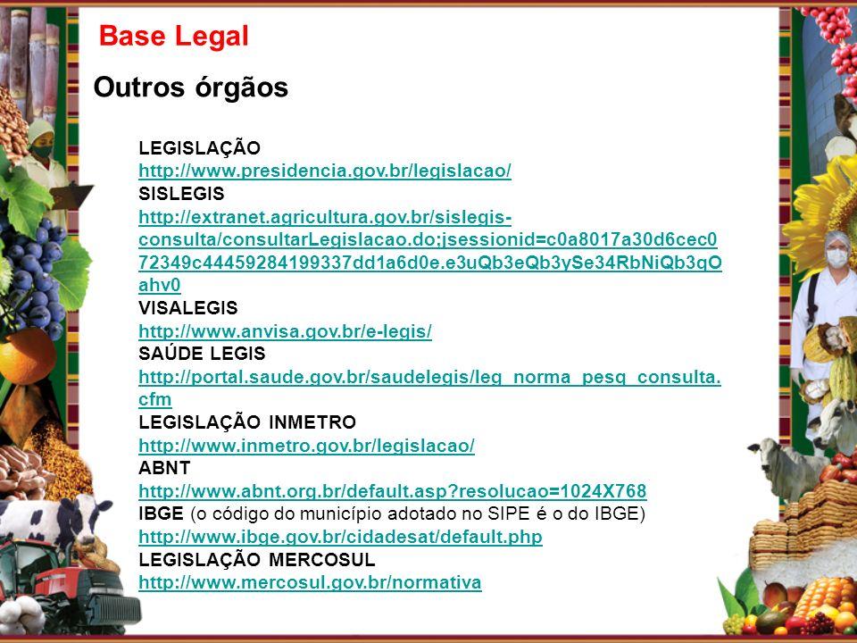 Base Legal Outros órgãos LEGISLAÇÃO