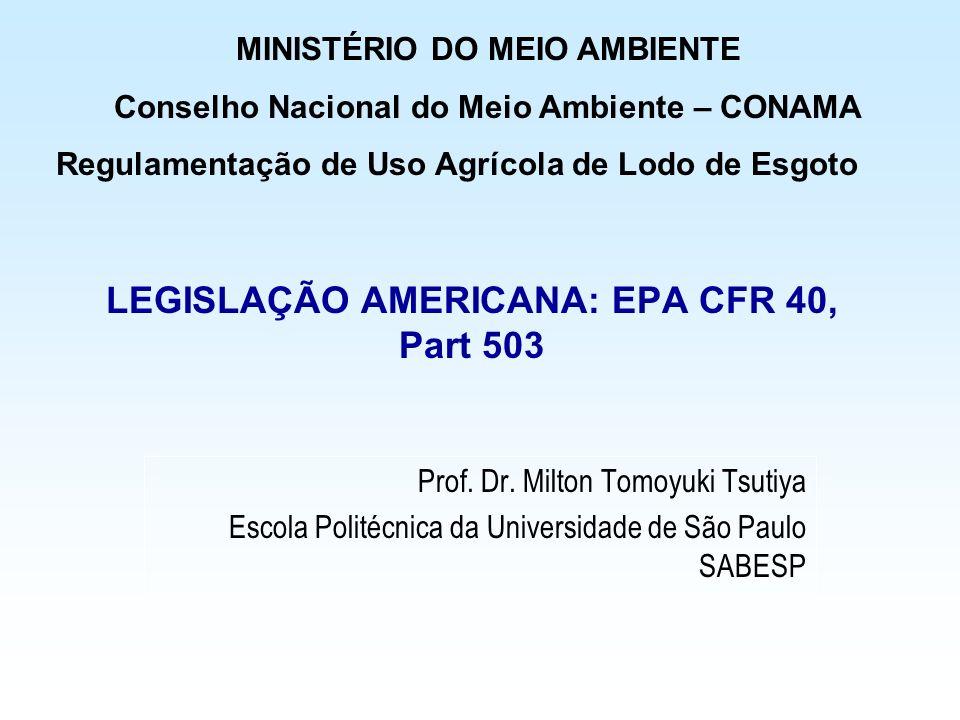LEGISLAÇÃO AMERICANA: EPA CFR 40, Part 503