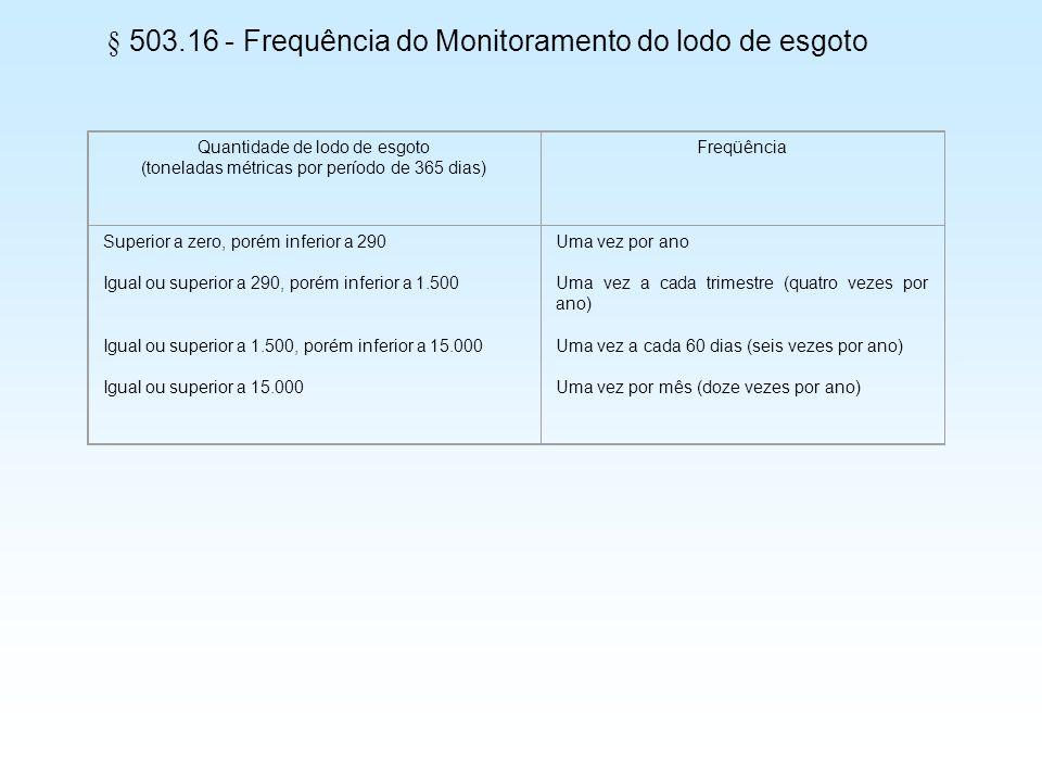 § 503.16 - Frequência do Monitoramento do lodo de esgoto