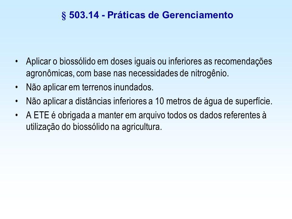 § 503.14 - Práticas de Gerenciamento