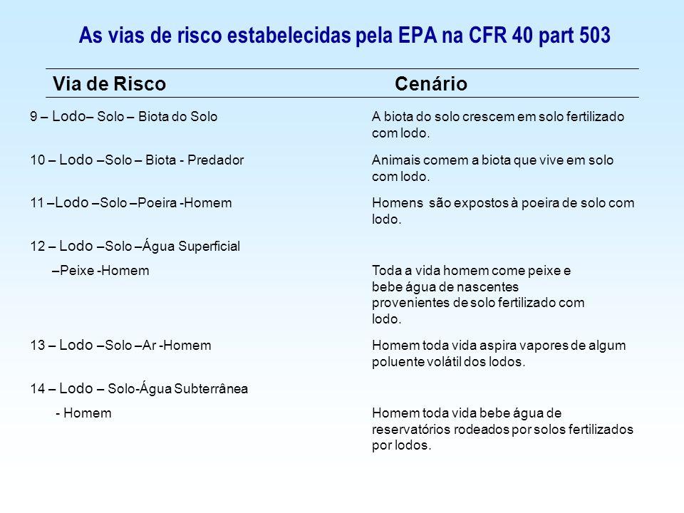 As vias de risco estabelecidas pela EPA na CFR 40 part 503