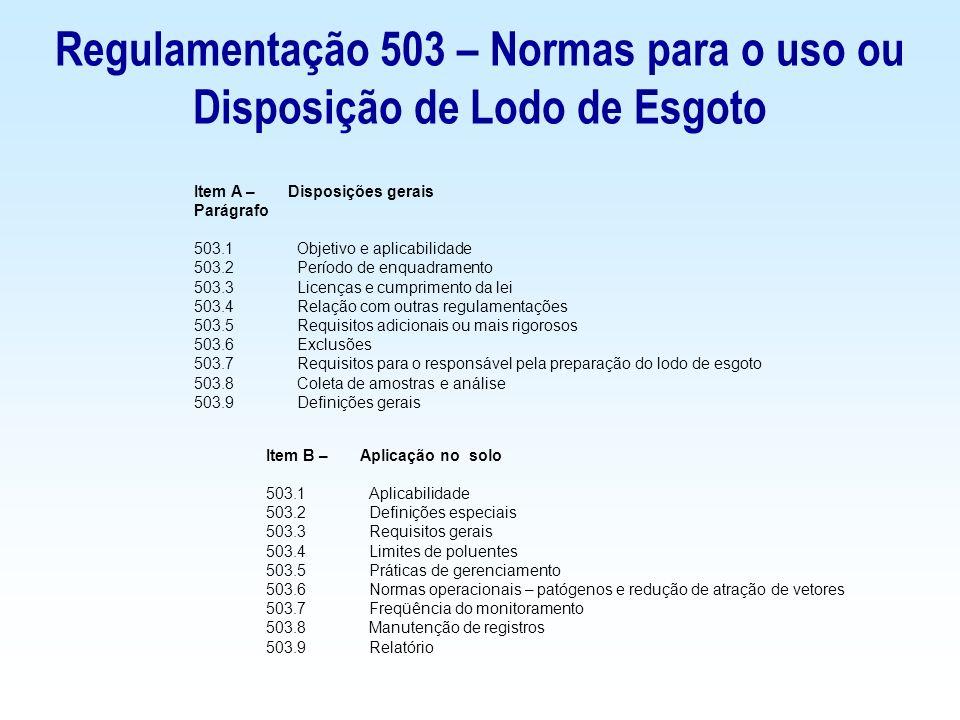 Regulamentação 503 – Normas para o uso ou Disposição de Lodo de Esgoto