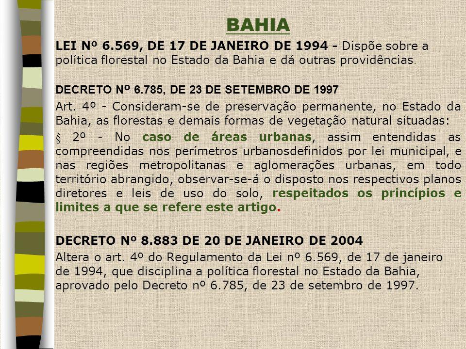 BAHIA LEI Nº 6.569, DE 17 DE JANEIRO DE 1994 - Dispõe sobre a política florestal no Estado da Bahia e dá outras providências.