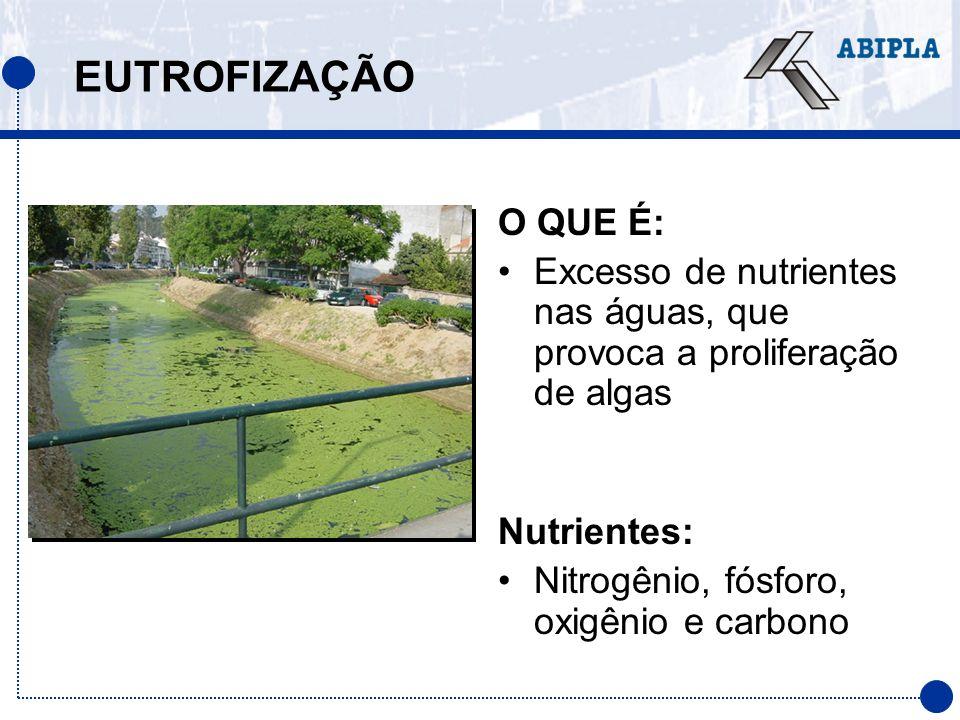 EUTROFIZAÇÃO O QUE É: Excesso de nutrientes nas águas, que provoca a proliferação de algas. Nutrientes: