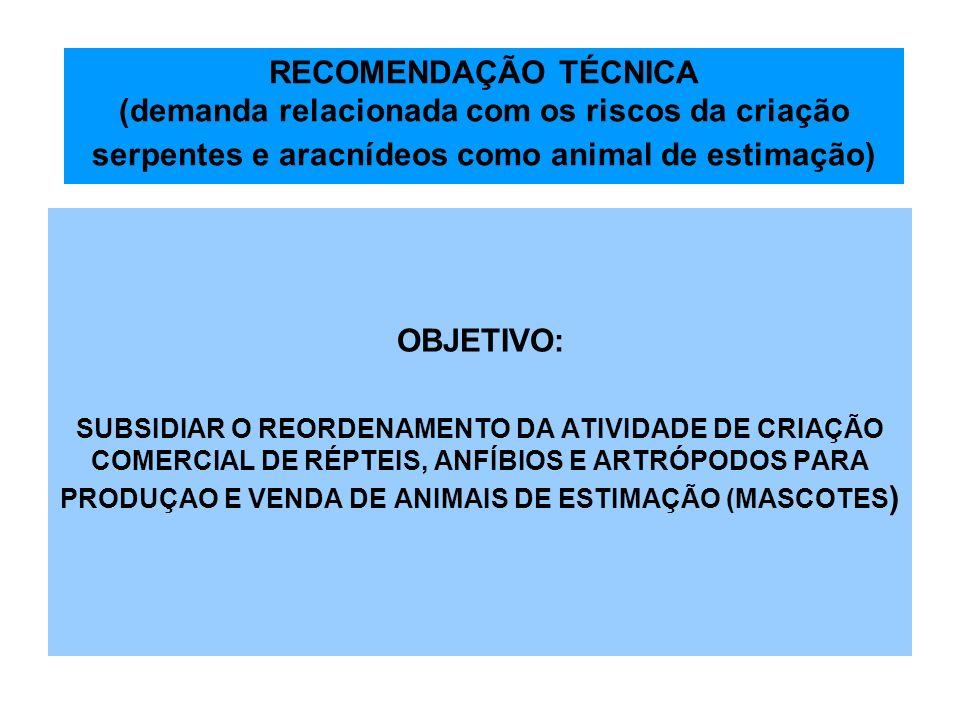 RECOMENDAÇÃO TÉCNICA (demanda relacionada com os riscos da criação serpentes e aracnídeos como animal de estimação)