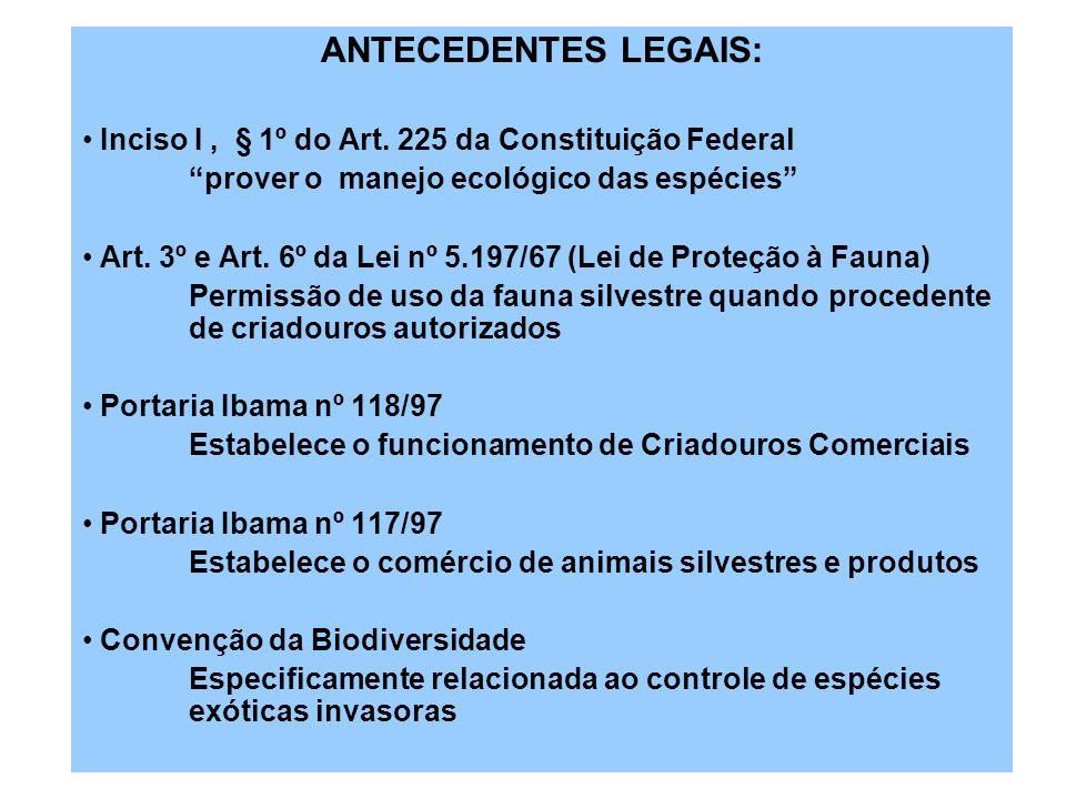 ANTECEDENTES LEGAIS: Inciso I , § 1º do Art. 225 da Constituição Federal. prover o manejo ecológico das espécies