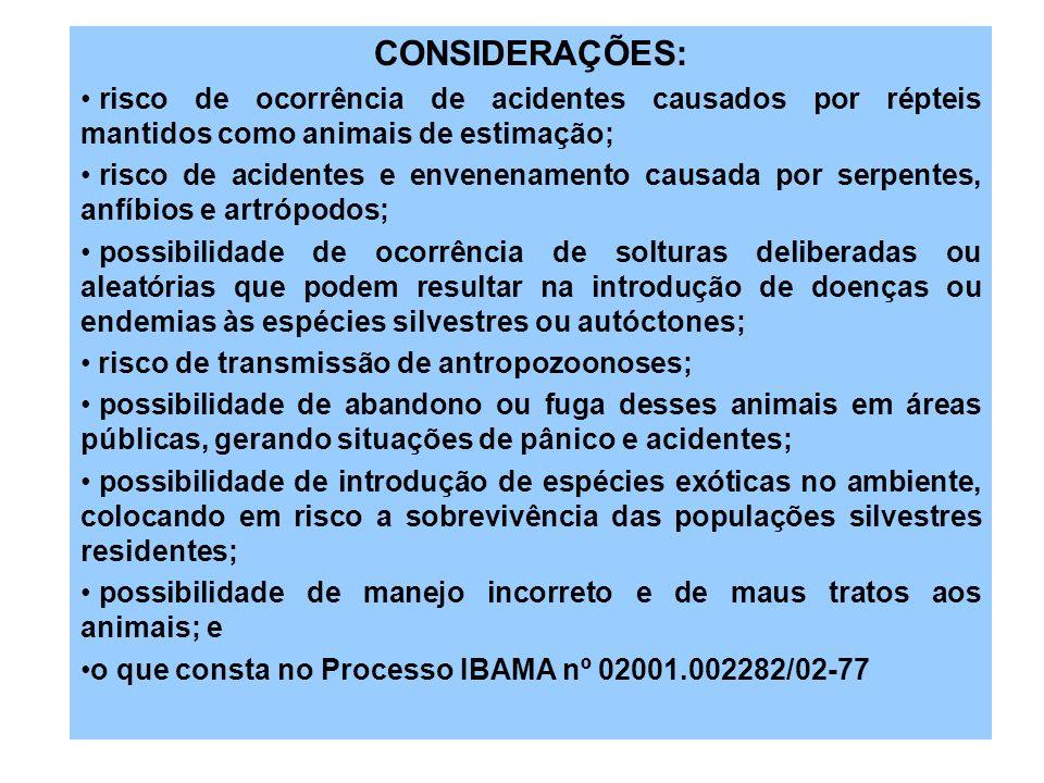 CONSIDERAÇÕES:risco de ocorrência de acidentes causados por répteis mantidos como animais de estimação;