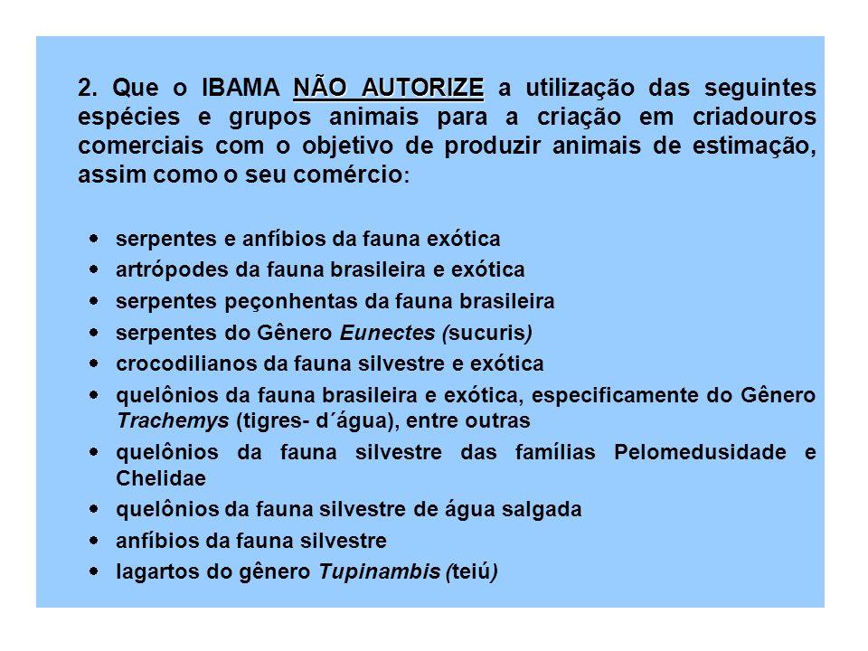 2. Que o IBAMA NÃO AUTORIZE a utilização das seguintes espécies e grupos animais para a criação em criadouros comerciais com o objetivo de produzir animais de estimação, assim como o seu comércio: