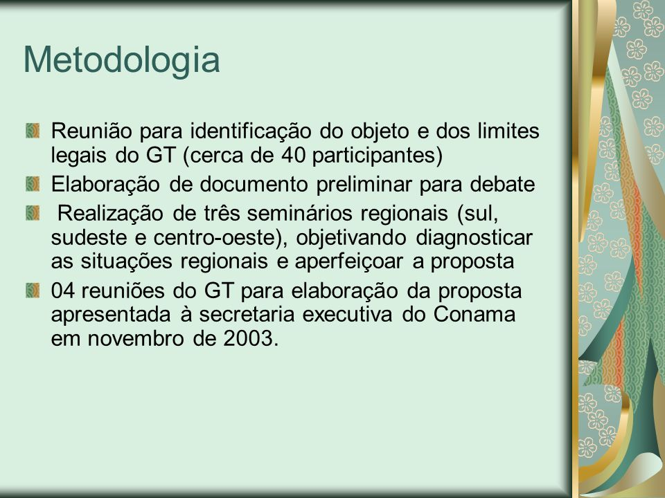 Metodologia Reunião para identificação do objeto e dos limites legais do GT (cerca de 40 participantes)