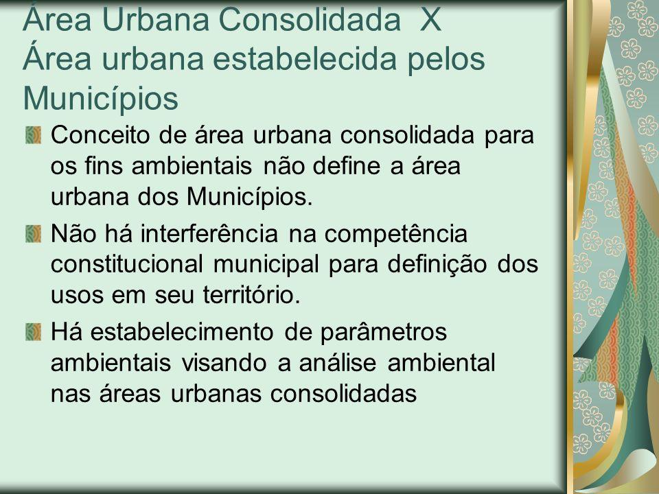 Área Urbana Consolidada X Área urbana estabelecida pelos Municípios