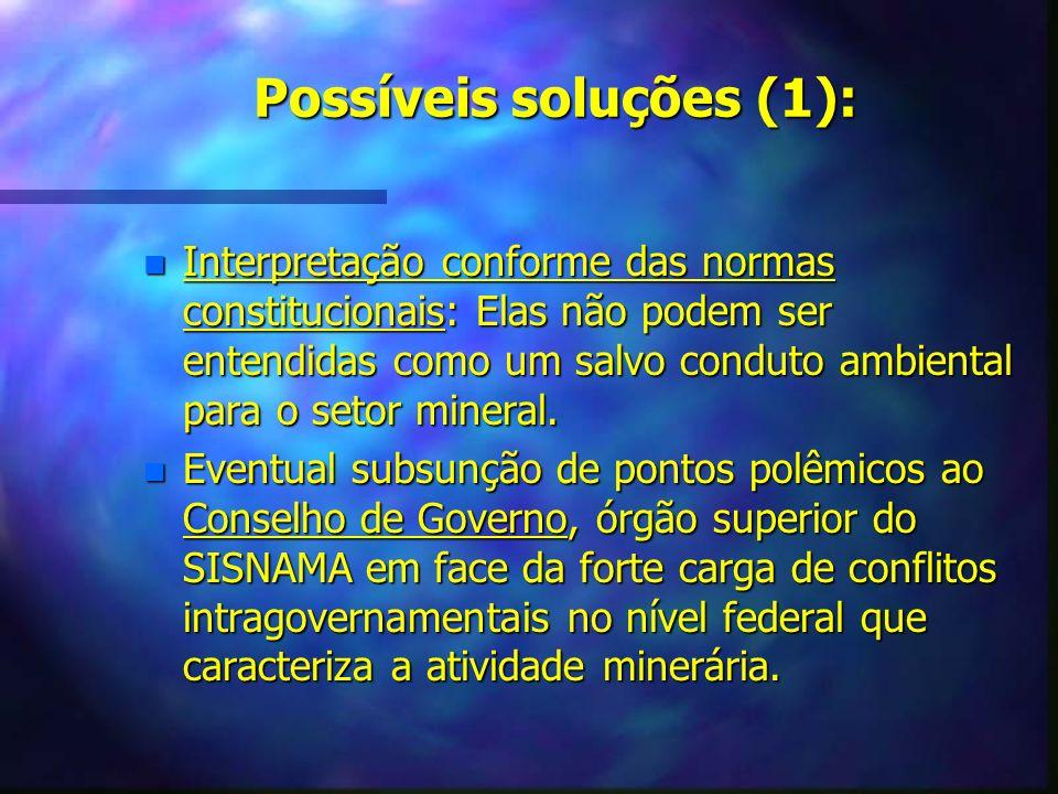 Possíveis soluções (1):