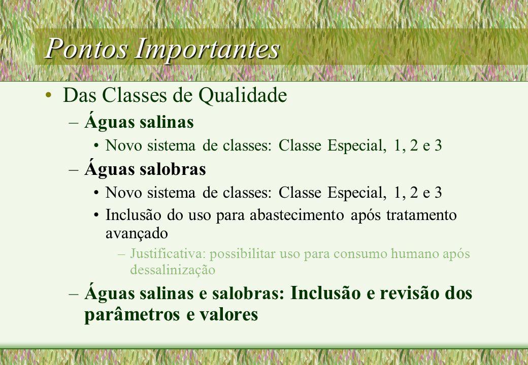 Pontos Importantes Das Classes de Qualidade Águas salinas