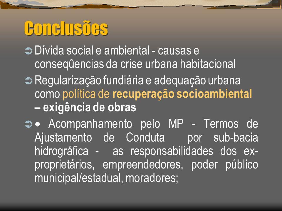 Conclusões Dívida social e ambiental - causas e conseqûencias da crise urbana habitacional.