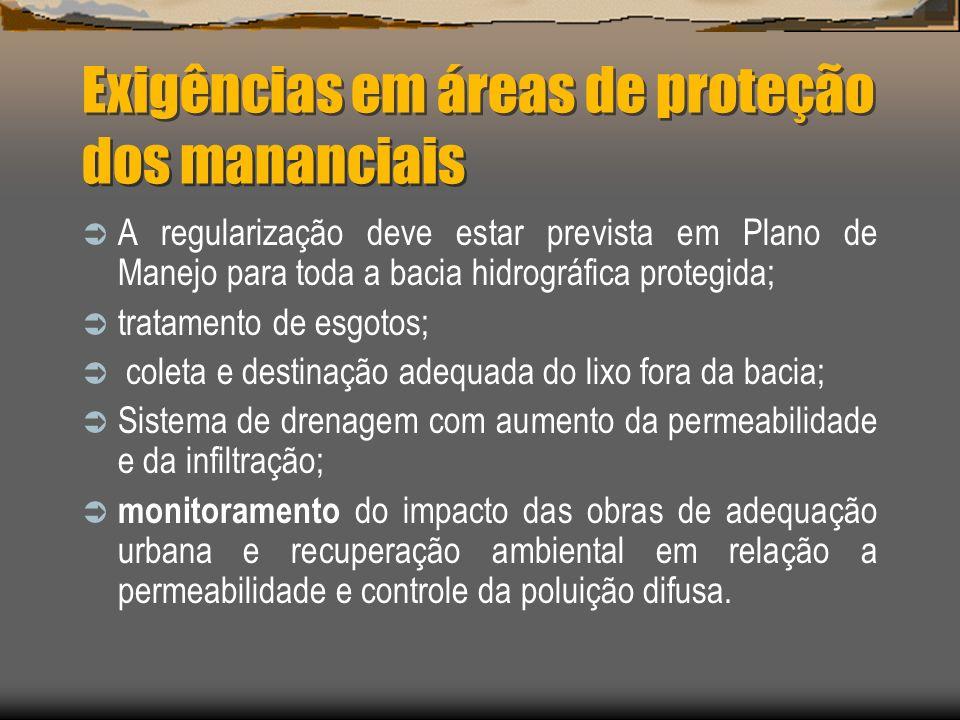 Exigências em áreas de proteção dos mananciais