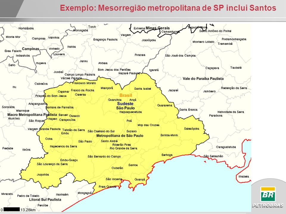 Exemplo: Mesorregião metropolitana de SP inclui Santos