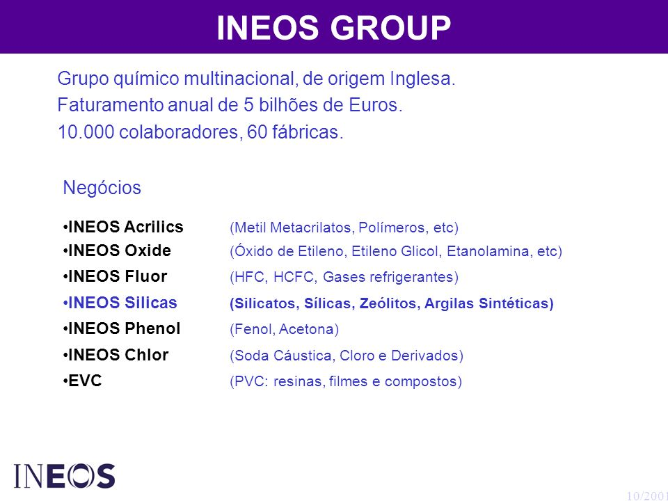 INEOS GROUP Grupo químico multinacional, de origem Inglesa.