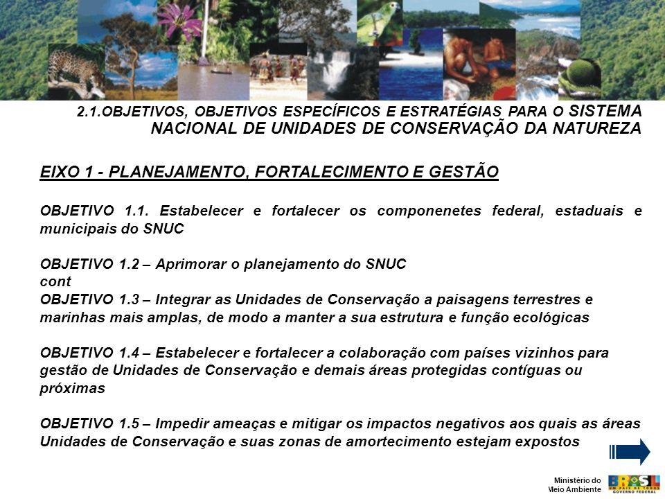 EIXO 1 - PLANEJAMENTO, FORTALECIMENTO E GESTÃO