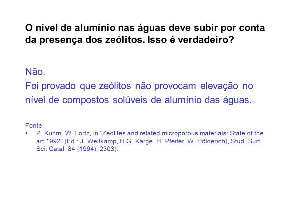 Foi provado que zeólitos não provocam elevação no