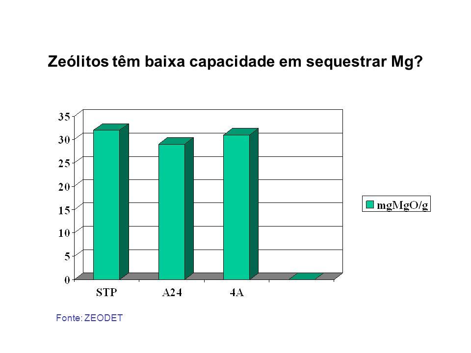 Zeólitos têm baixa capacidade em sequestrar Mg
