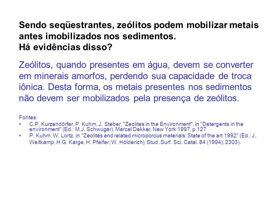 Zeólitos, quando presentes em água, devem se converter
