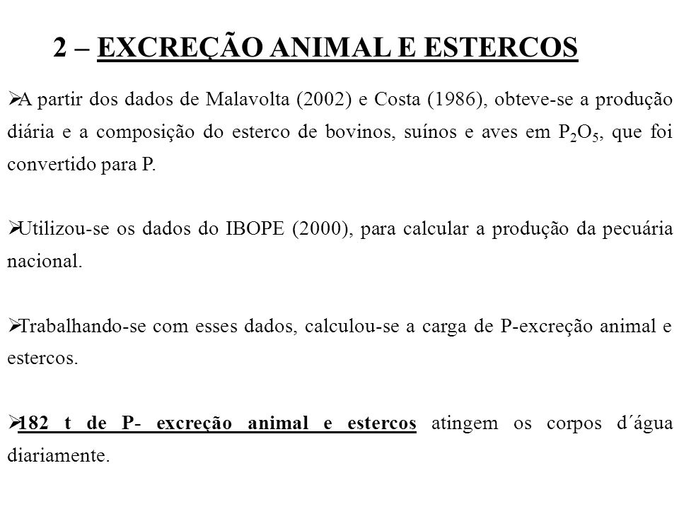 2 – EXCREÇÃO ANIMAL E ESTERCOS