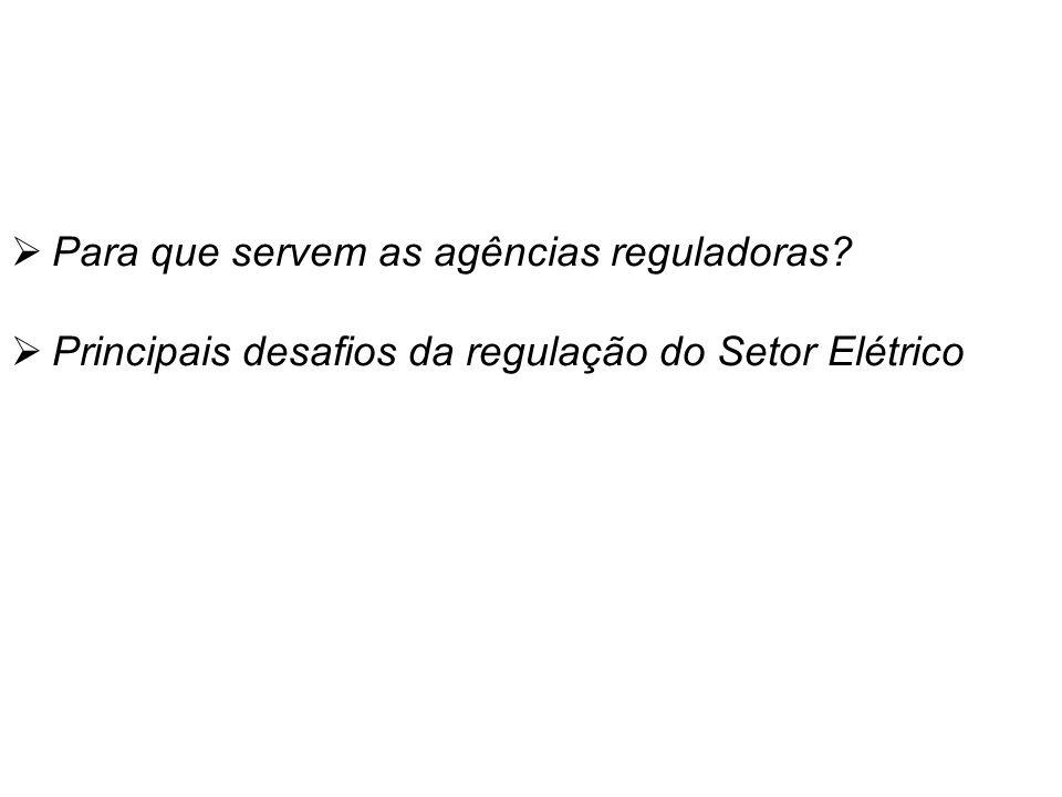 Temas Para que servem as agências reguladoras Principais desafios da regulação do Setor Elétrico
