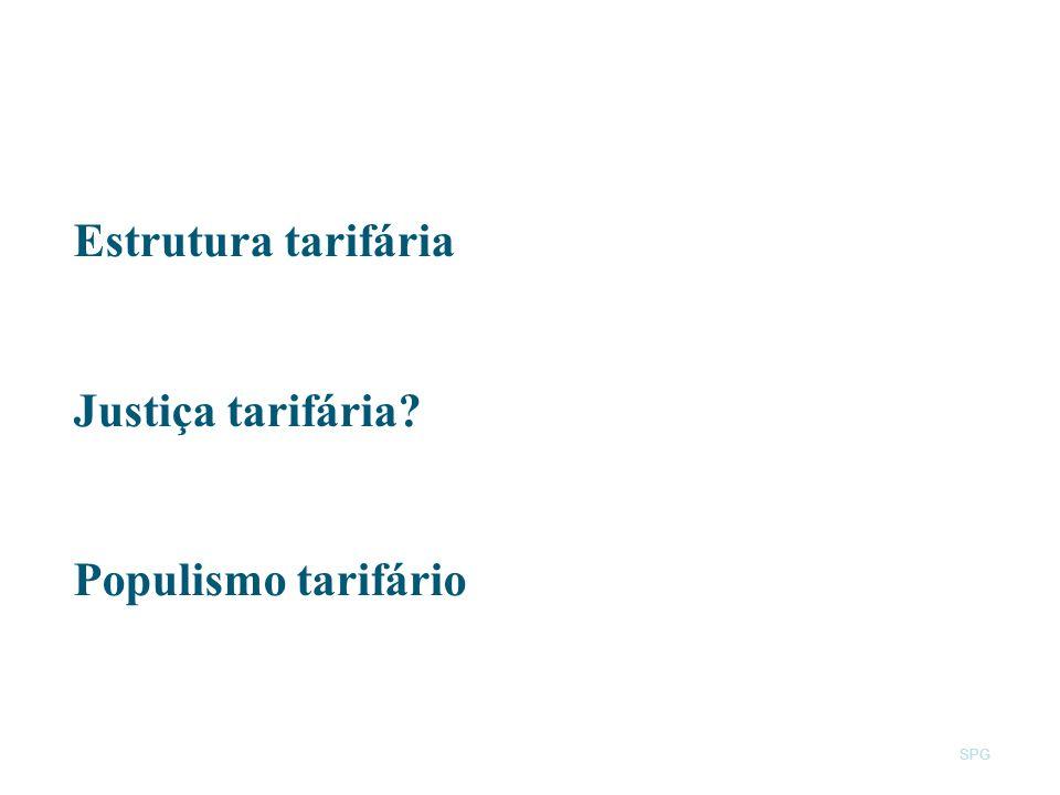 Estrutura tarifária Justiça tarifária Populismo tarifário SPG