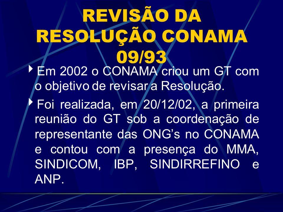 REVISÃO DA RESOLUÇÃO CONAMA 09/93