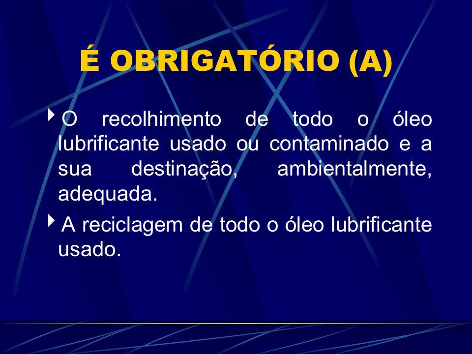 É OBRIGATÓRIO (A) O recolhimento de todo o óleo lubrificante usado ou contaminado e a sua destinação, ambientalmente, adequada.