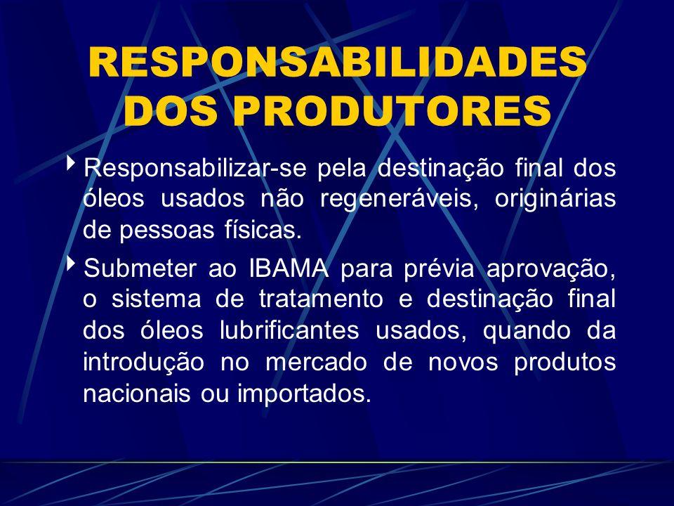 RESPONSABILIDADES DOS PRODUTORES