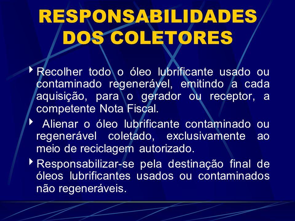 RESPONSABILIDADES DOS COLETORES
