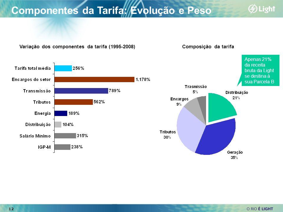 Componentes da Tarifa: Evolução e Peso