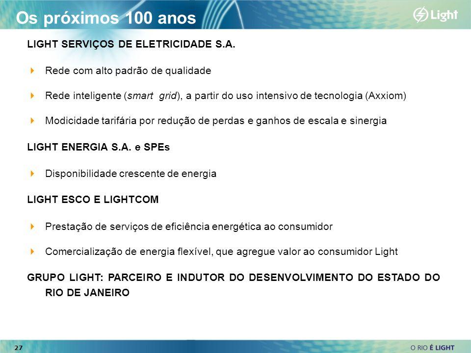 Os próximos 100 anos LIGHT SERVIÇOS DE ELETRICIDADE S.A.