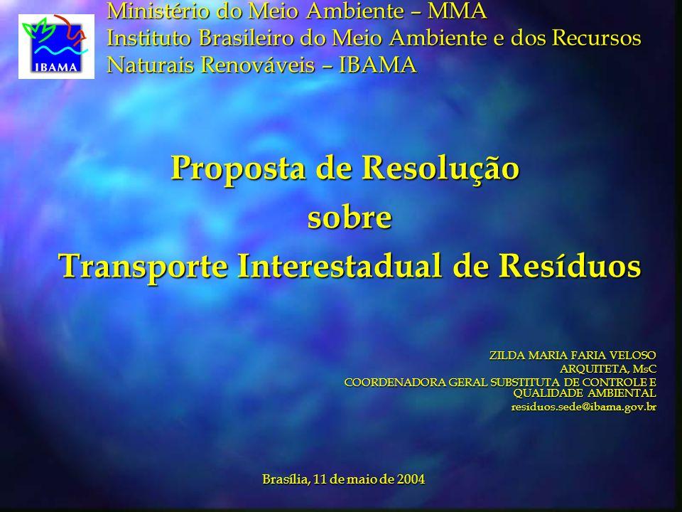Proposta de Resolução sobre Transporte Interestadual de Resíduos