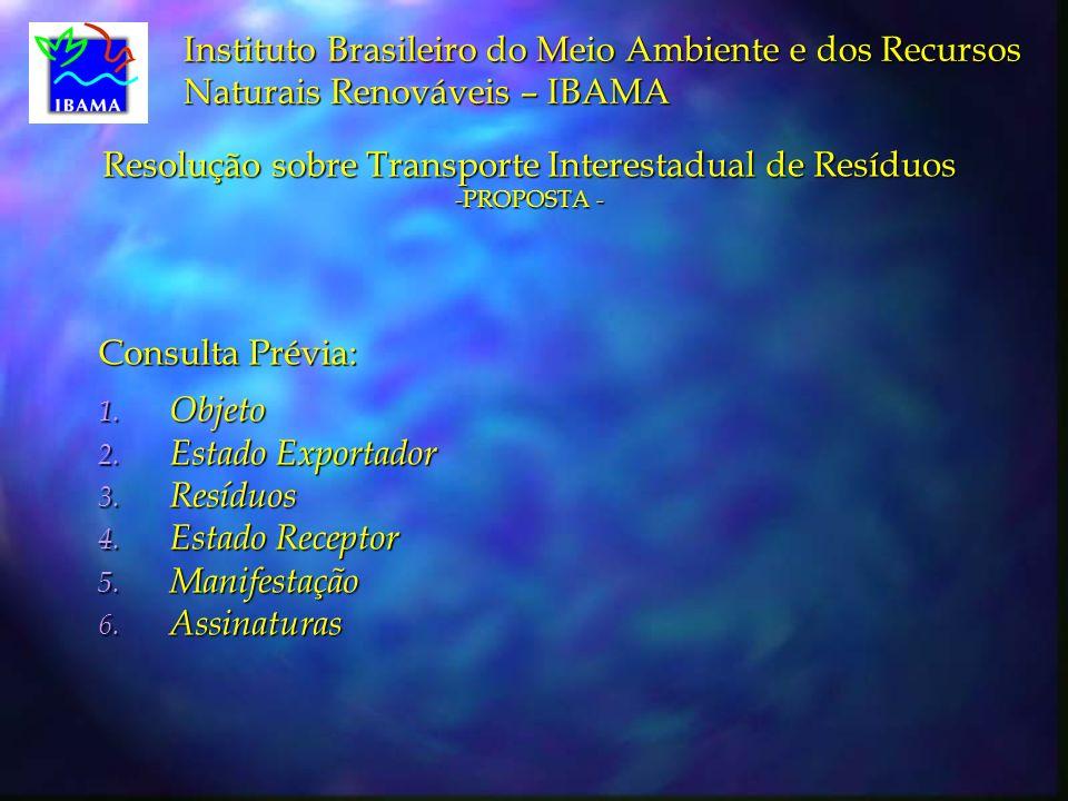 Resolução sobre Transporte Interestadual de Resíduos -PROPOSTA -