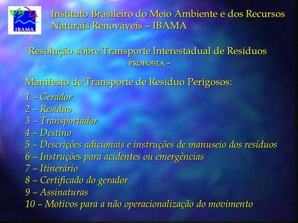 Resolução sobre Transporte Interestadual de Resíduos - PROPOSTA -
