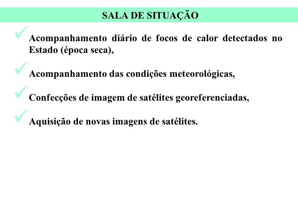 SALA DE SITUAÇÃO Acompanhamento diário de focos de calor detectados no Estado (época seca), Acompanhamento das condições meteorológicas,