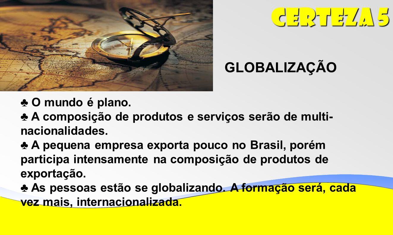 Certeza 5 GLOBALIZAÇÃO ♣ O mundo é plano.