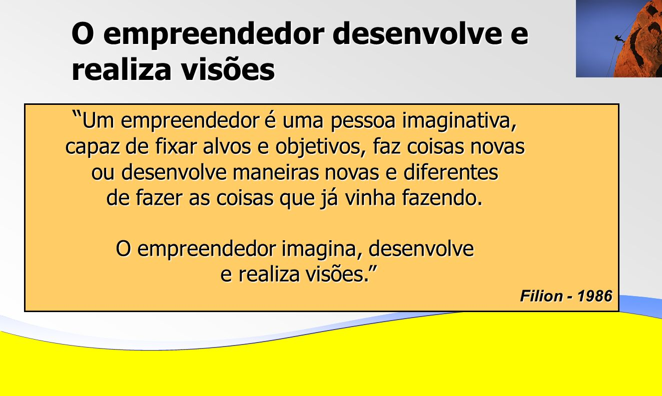 O empreendedor desenvolve e realiza visões