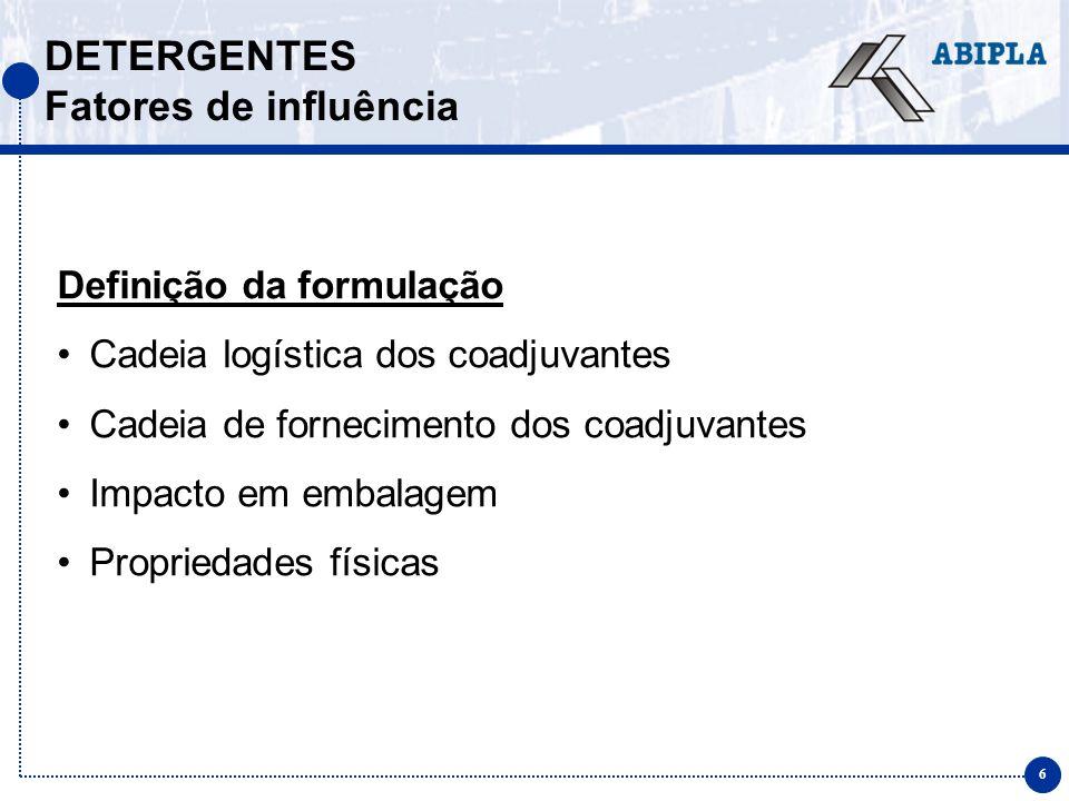 DETERGENTES Fatores de influência