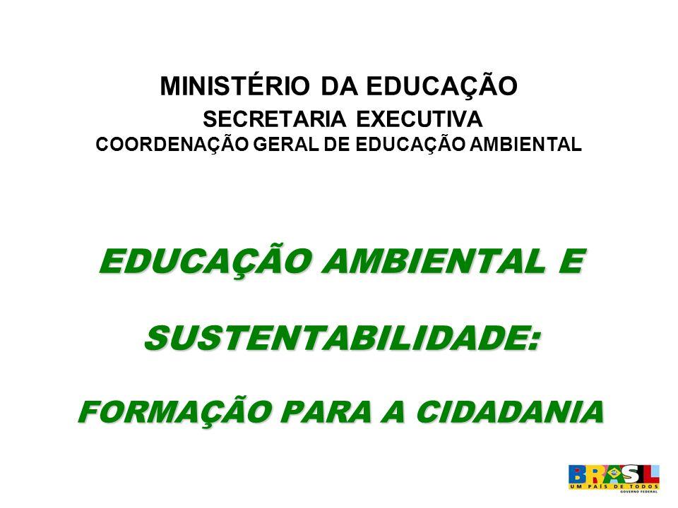 MINISTÉRIO DA EDUCAÇÃO SECRETARIA EXECUTIVA COORDENAÇÃO GERAL DE EDUCAÇÃO AMBIENTAL EDUCAÇÃO AMBIENTAL E SUSTENTABILIDADE: FORMAÇÃO PARA A CIDADANIA