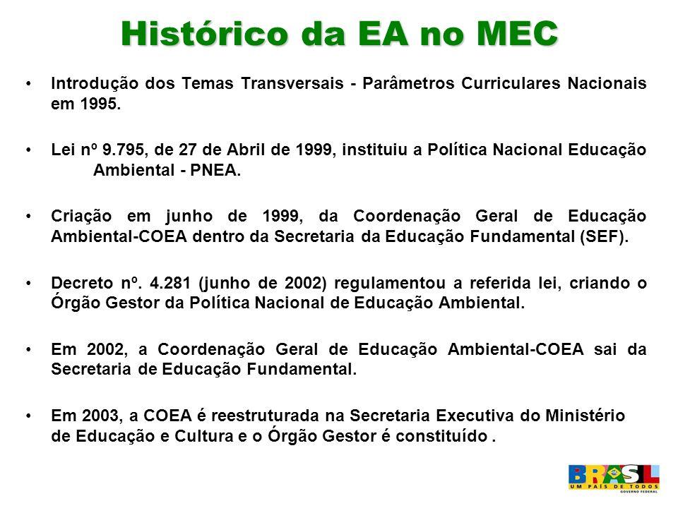 Histórico da EA no MEC Introdução dos Temas Transversais - Parâmetros Curriculares Nacionais em 1995.