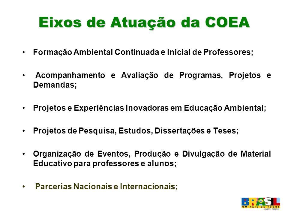 Eixos de Atuação da COEA