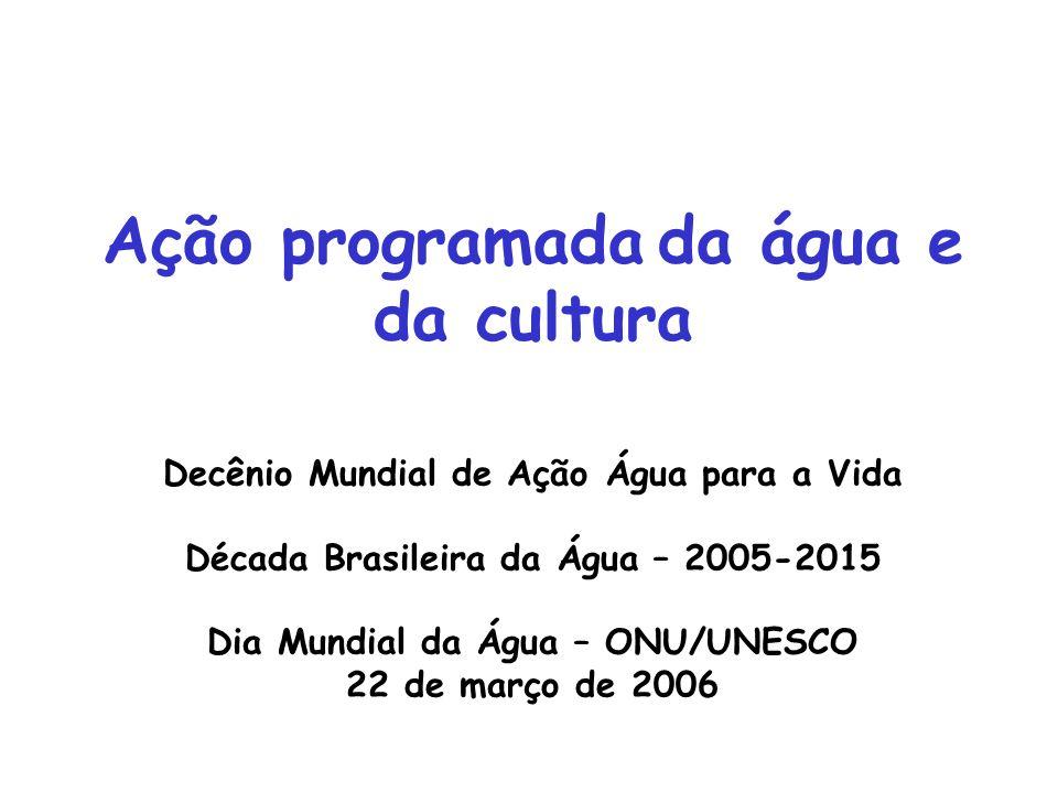 Ação programada da água e da cultura Decênio Mundial de Ação Água para a Vida Década Brasileira da Água – 2005-2015 Dia Mundial da Água – ONU/UNESCO 22 de março de 2006