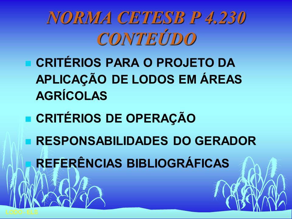 NORMA CETESB P 4.230 CONTEÚDO