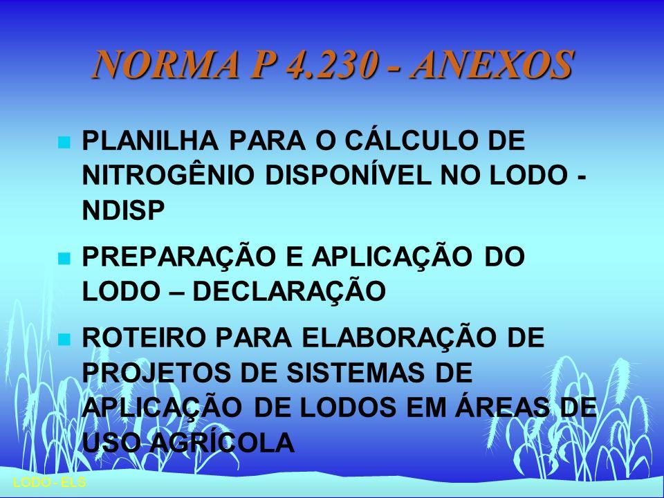 NORMA P 4.230 - ANEXOS PLANILHA PARA O CÁLCULO DE NITROGÊNIO DISPONÍVEL NO LODO - NDISP. PREPARAÇÃO E APLICAÇÃO DO LODO – DECLARAÇÃO.