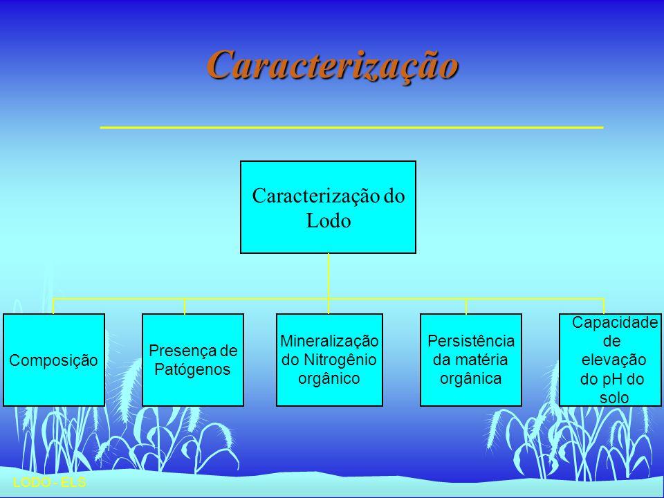 Caracterização Caracterização do Lodo Capacidade de elevação do pH do