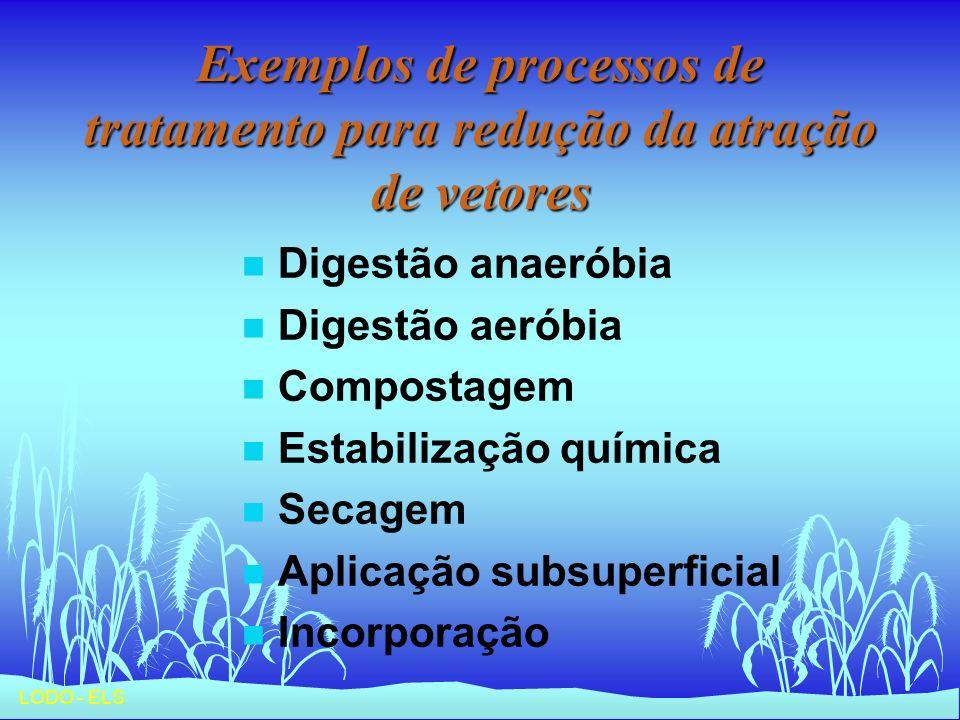 Exemplos de processos de tratamento para redução da atração de vetores