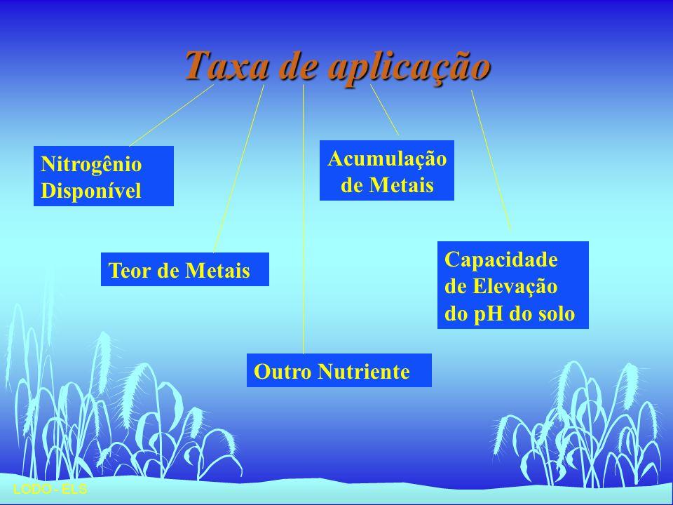 Taxa de aplicação Acumulação de Metais Nitrogênio Disponível